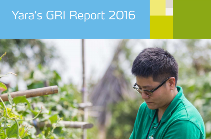 Front page of Yara GRI Report 2016