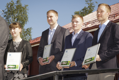 During the ceremony, four students received scholarships