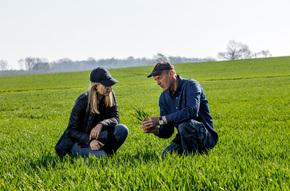 Agricultor aprendiendo sobre agricultura sostenible