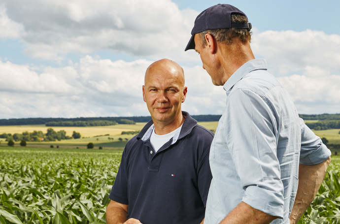 Farmer and agronomist in corn field