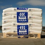 A pallet of Yara fertilizer