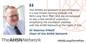 Role of AHSNs highlighted in NHS Long Term Plan - Yorkshire & Humber