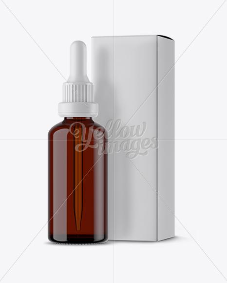 Amber Glass Dropper Bottle Box Mockup In Bottle Mockups On