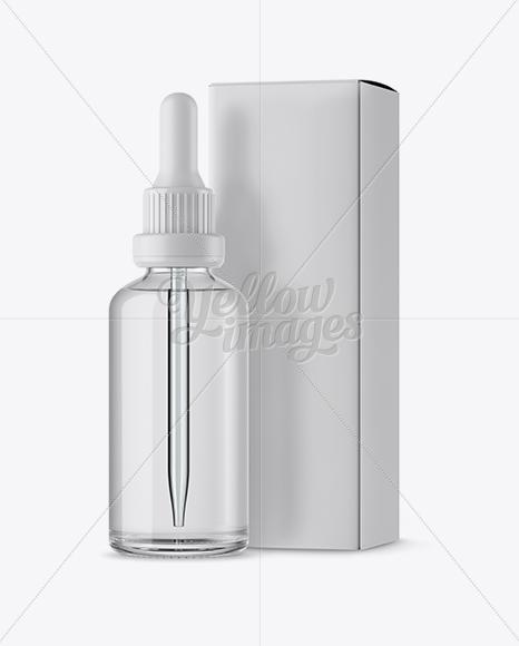 Clear Glass Dropper Bottle & Box Mockup