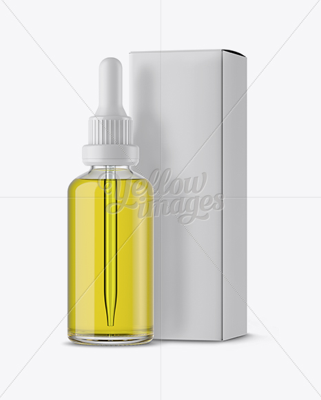 Clear Glass Dropper Bottle with Oil & Box Mockup