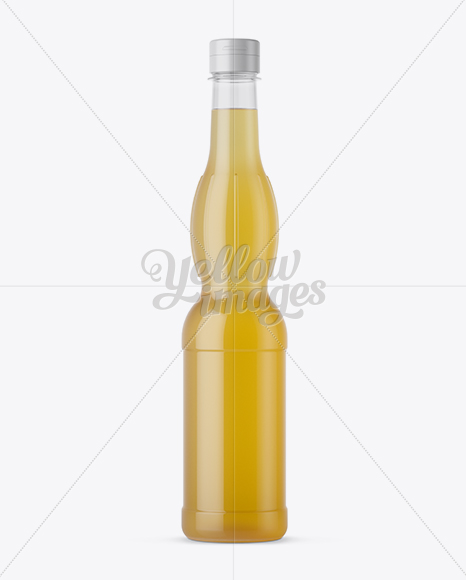 Glossy Plastic Bottle with Yellow Drink Mockup