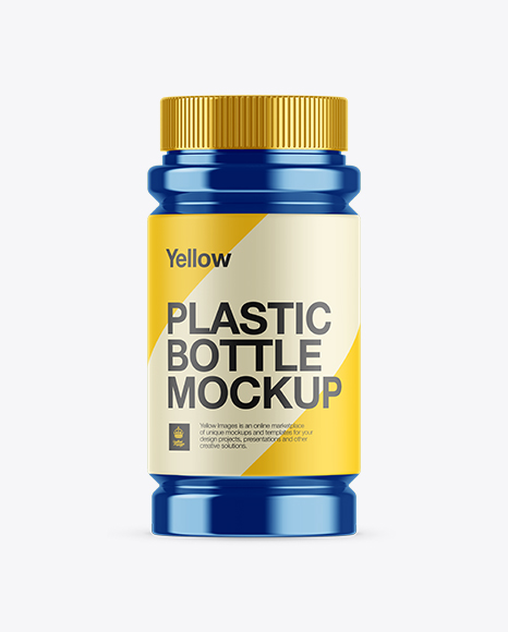 Glossy Metallic Pill Bottle Mockup