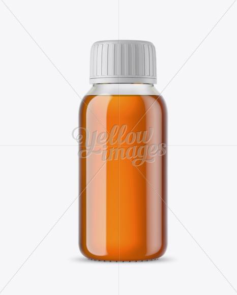 Clear Glass Bottle With Orange Syrup Mockup in Bottle Mockups on