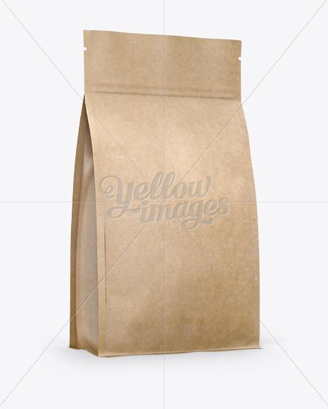 Kraft Stand-up Bag w/ Zipper Mockup - Half Side View