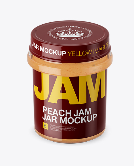 Download Glass Jar With Peach Jam Mockup (High-Angle Shot) Object Mockups