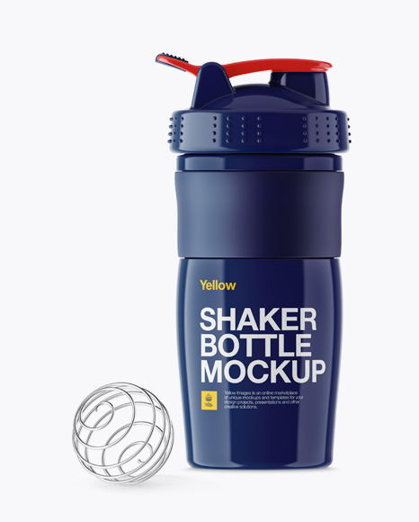 Download Free Glossy Shaker Bottle With Blender Ball Mockup PSD Template