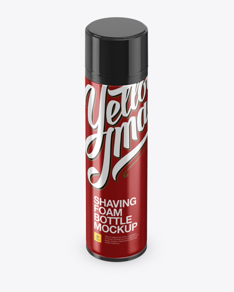 Download Free Glossy Metallic Shaving Foam Bottle With Cap Mockup (High-Angle Shot) PSD Template