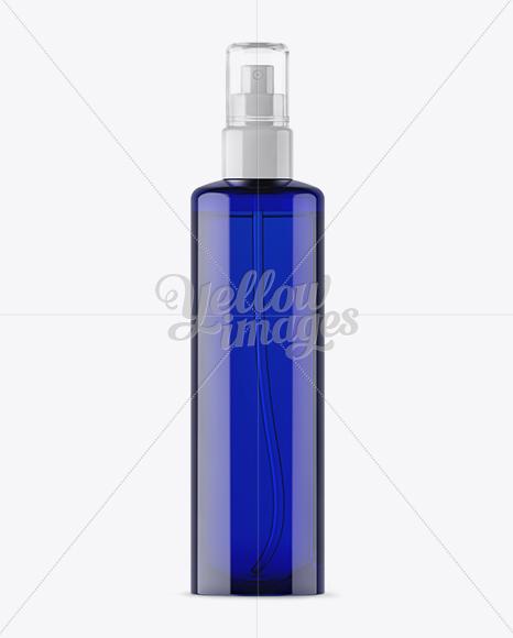 Blue Spray Bottle With Transparent Cap Mockup