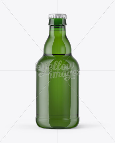 330ml Green Glass Bottle with Lager Beer Mockup