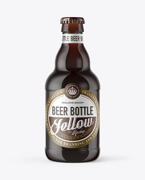 Download Free 330ml Amber Glass Bottle with Red Ale Mockup PSD Template