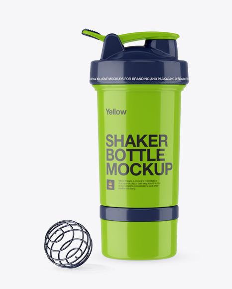 Glossy Shaker Bottle With Blender Ball Mockup In Bottle Mockups On