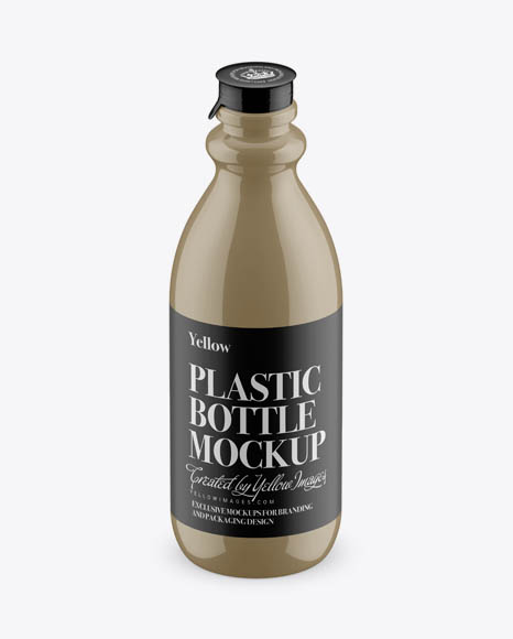 Glossy Plastic Dairy Bottle Mockup (High-Angle Shot)