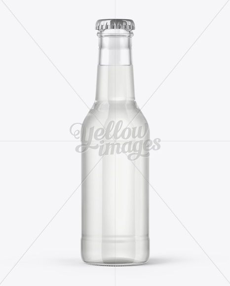 200ml Clear Glass Bottle with Tonic Mockup