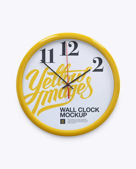 Glossy Wall Clock Mockup In Object Mockups On Yellow