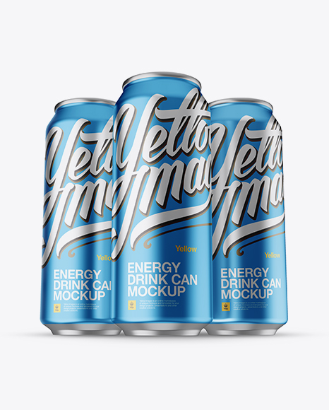 Three 500ml Aluminium Cans With Metallic Finish Mockup - Hero Shot