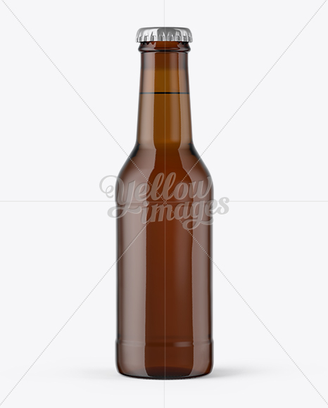 200ml Amber Glass Bottle with Drink Mockup