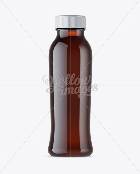 Amber Plastic Bottle With Drink Mockup - Front View