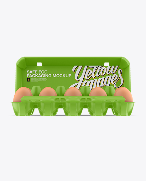 Download Free Open Matte Egg Container - Front View PSD Template