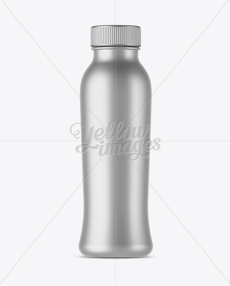 Metallic Bottle With Drink Mockup - Front View