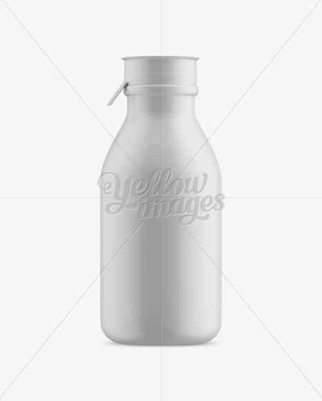 Matte Medium Plastic Dairy Bottle Mockup - Front View