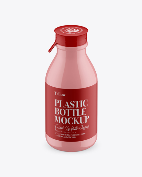 Download Glossy Medium Plastic Dairy Bottle Mockup (High-Angle Shot) Object Mockups