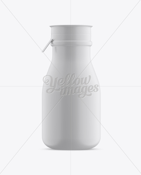 Matte Small Plastic Dairy Bottle Mockup - Front View