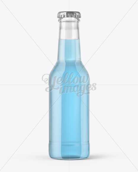 Download 200ml Clear Glass Bottle With Blue Drink Mockup In Bottle Mockups On Yellow Images Object Mockups PSD Mockup Templates
