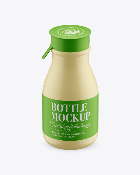 Download Matte Small Plastic Dairy Bottle Mockup (High-Angle Shot) Object Mockups
