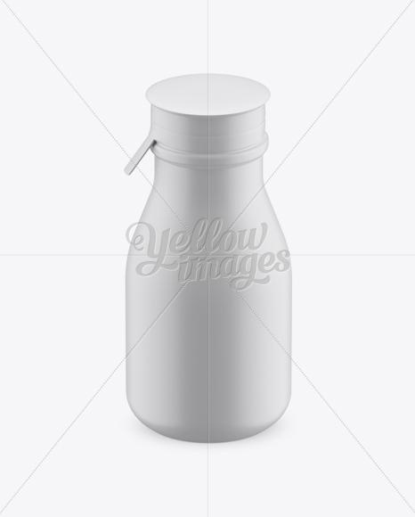 Matte Small Plastic Dairy Bottle Mockup (High-Angle Shot)