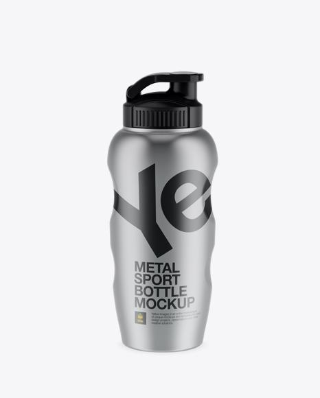 Download Metallic Sport Bottle Mockup - Front View Object Mockups