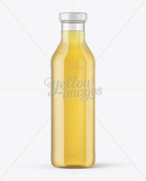 Clear Glass Bottle With Grape Juice Mockup
