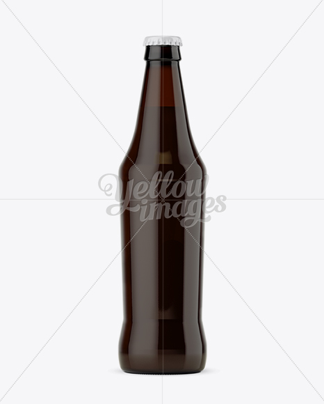 Dark Amber Glass Bottle with Beer Mockup