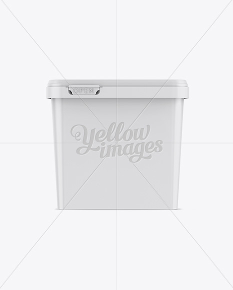 Glossy Square Butter Tub Mockup - Front View