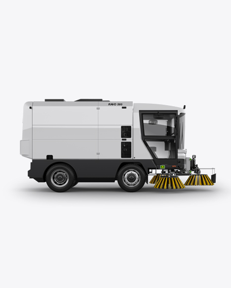 Download Free Street Sweeping Machine Right view Mockup PSD Template