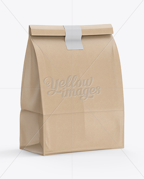 Download Kraft Paper Bag Mockup Halfside View In Bag Sack Mockups On Yellow Images Object Mockups Yellowimages Mockups