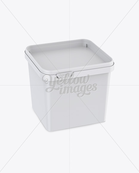 Matte Square Butter Tub Mockup - Halfside View (High-Angle Shot)