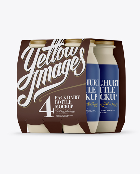 Download Free 4 Pack Matte Dairy Bottle Mockup - Halfside View PSD Template