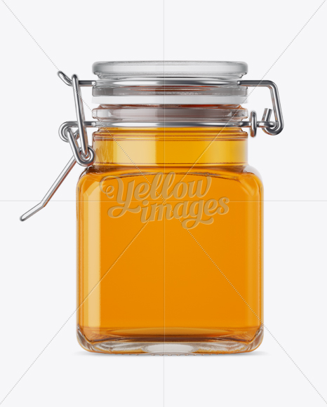 Download 100ml Glass Pure Honey Jar W Clamp Lid Mockup Halfside View In Jar Mockups On Yellow Images Object Mockups PSD Mockup Templates