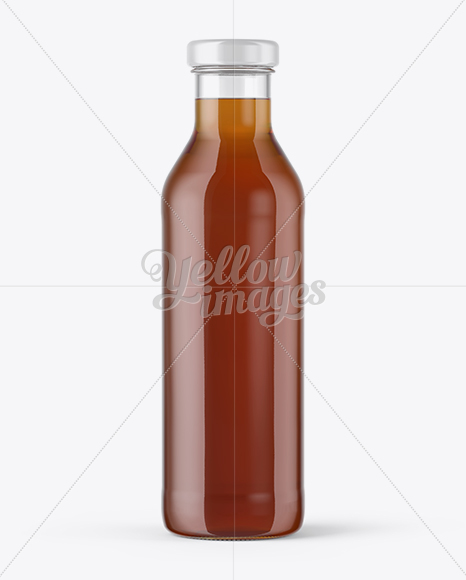 Clear Glass Bottle With Black Tea Mockup