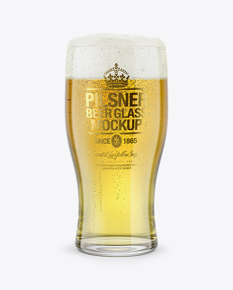 Pilsner Beer Glass Mockup