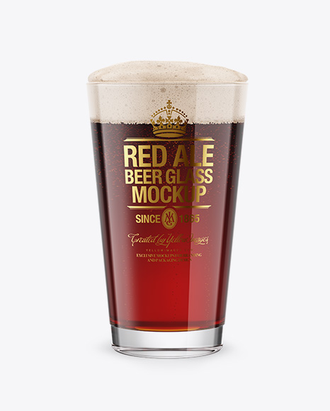 Red Ale Beer Glass Mockup