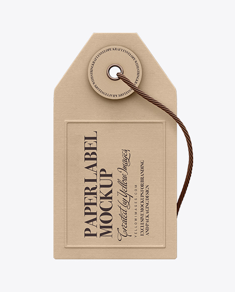 Paper Label With String Mockup - Front View