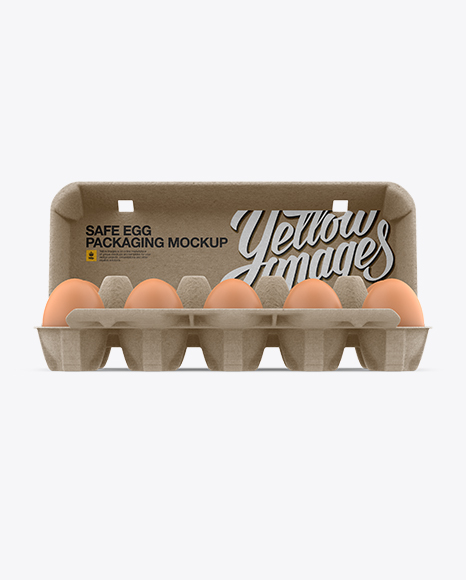 Download Open Kraft Egg Container - Front View Object Mockups
