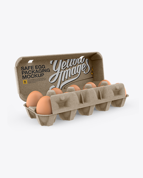 Download Open Kraft Egg Container - Halfside View (High-Angle Shot) Object Mockups