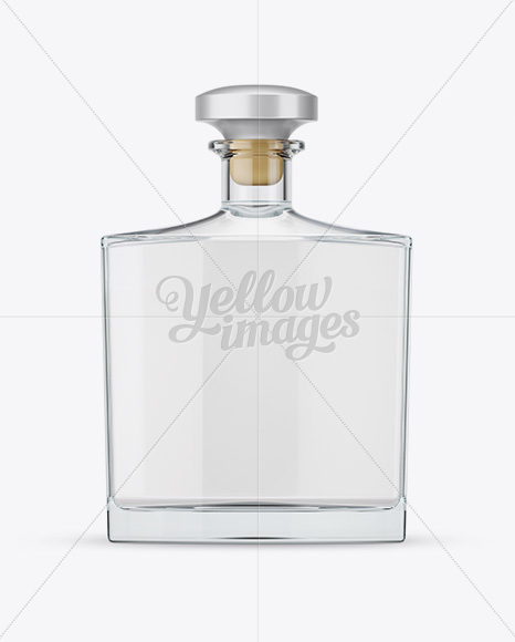 Download Square Clear Glass Bottle With Vodka Mockup In Bottle Mockups On Yellow Images Object Mockups PSD Mockup Templates